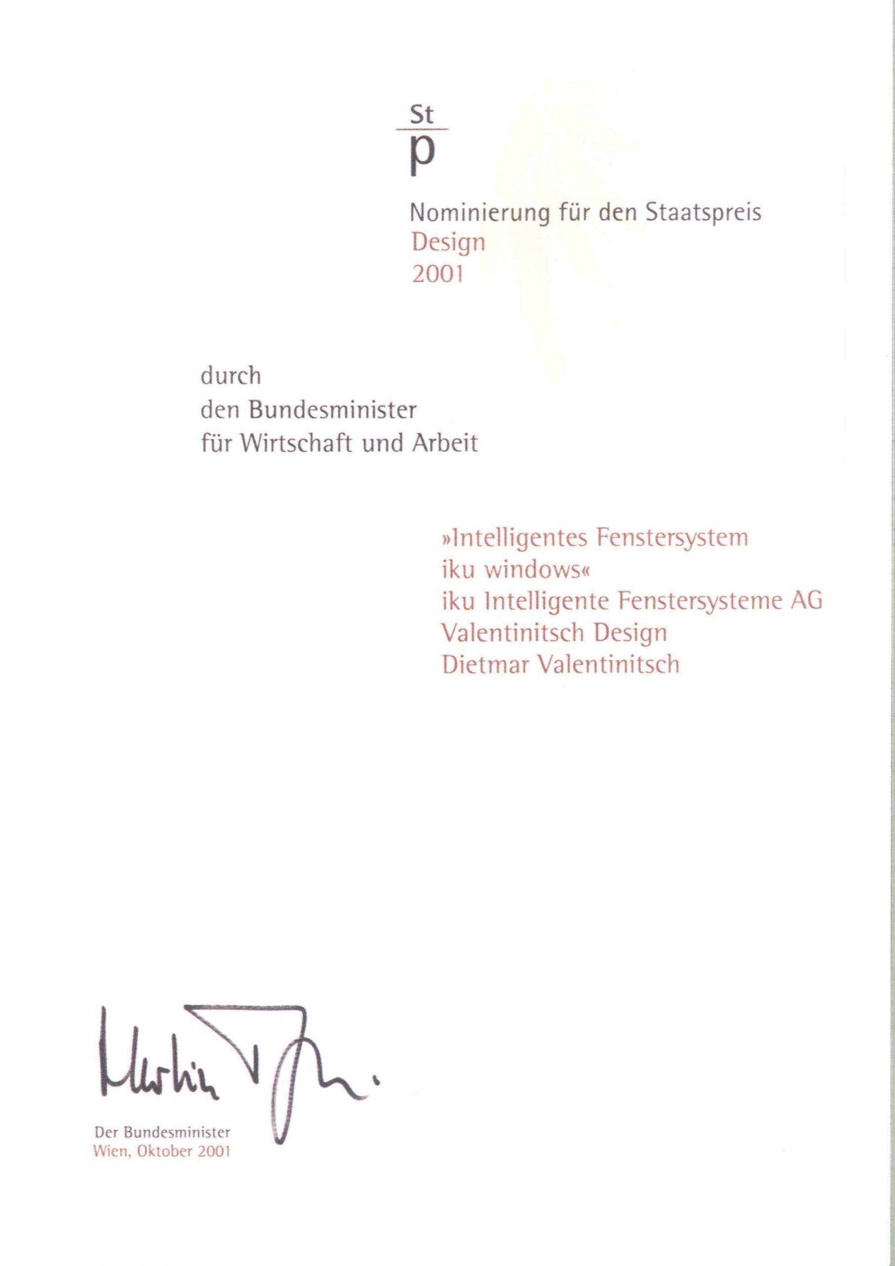 Österreichischer Staatspreis 2001